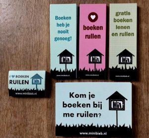 Pakket goodies Minibieb - boekenleggers, ansichtkaarten en stickers